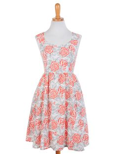 Fair Trade Fashion - Darling Poets dress coral - Mata Traders