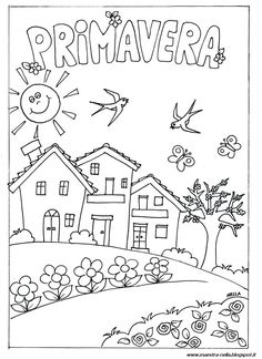 disegni, idee e lavoretti per la Scuola dell' Infanzia e non solo... Art Drawings For Kids, Drawing For Kids, Easy Drawings, Colouring Pages, Coloring Books, Learning Spanish For Kids, Doodle Art Drawing, Seasons Of The Year, Fabric Houses
