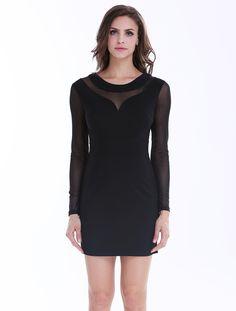 Black Contrast Sheer Mesh Bodycon Dress 18.33