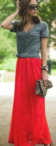 casual cute: flowy red maxi skirt, grey tshirt knotted. minus the leopard clutch.