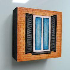 Small window orange brick with shutters NYC by LauraKaardalArtist #NewYork City #architecture #city #urban #streetscene #orange #blue #brickwall #hertiagebuilding #classic #charm #tuscan #italy