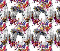 Roosters of New York fabric by bloomingwyldeiris on Spoonflower - custom fabric