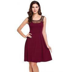 New Women Casual O-Neck Sleeveless Mesh Patchwork Elastic A-Line Pleated Hem Tank Dress