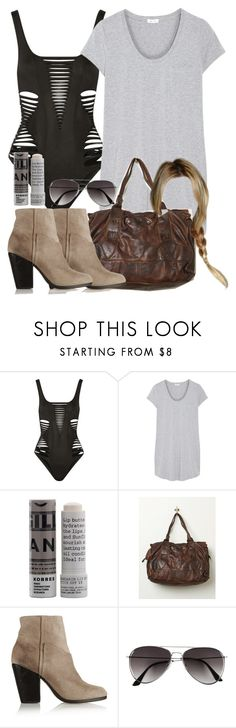 """""""Malia Inspired Beach Outfit with a One-Piece Swimsuit"""" by veterization ❤ liked on Polyvore featuring Agent Provocateur, Splendid, Korres, Free People, rag & bone and H&M"""