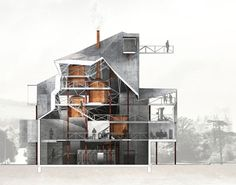 'Fire Station Plus', section, Chambis Proestos, second year architecture studio 2009-2010