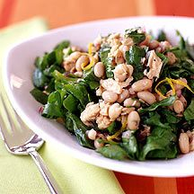 White Bean Citrus and Salmon Salad- I substituted baby spinach and spring greens for the arugula and added halved grape tomatoes an fresh dill. Bean Salad Recipes, Healthy Recipes, Ww Recipes, Side Dish Recipes, Healthy Cooking, Lunch Recipes, Seafood Recipes, Whole Food Recipes, Healthy Eating