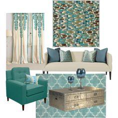 Aqua Blue Living Room by truthjc on Polyvore Aqua decor