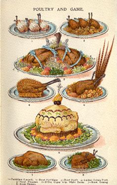 Vintage inspiration for a poultry and game centrepiece for your steampunk buffet! Steampunk party food.