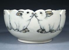 Hand Painted Pottery with Animal and Dog Art by Nan Hamilton Boston MA by tamara