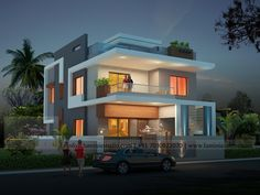 Left side view of the house Single Floor House Design, Simple House Design, House Front Design, Modern House Design, Flat Roof House, Facade House, Morden House, House Design Pictures, Bungalow House Design