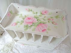 ROMANTIC SHABBY ROSE ORGANIZER hp chic vintage cottage garden hand painted pink #VINTAGE