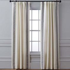 Smoke Stripe Edge Linen Curtains Rod Pocket | Williams Sonoma Drapes And Blinds, Window Drapes, Window Coverings, Window Treatments, Bedroom Drapes, Linen Curtains, Luxury Curtains, Master Bedroom, Thermal Drapes