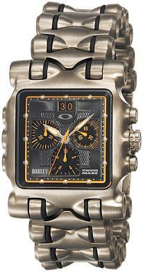 :) Men's 10-299 OMM Titanium Yellow Dial Watch by Oakley