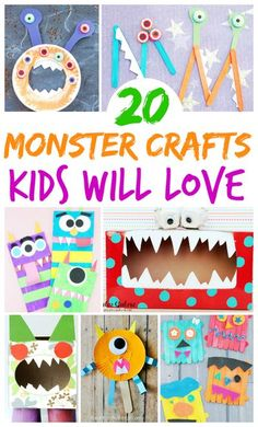 There is something about monster crafts that just makes kids smile with glee! They aren't exactly ferocious, but they are super scary fun… and kids go crazy for them. Monster crafts have so many possibilities because there are so many creative ways kids can create their own monsters and then play pretend monster games. | Halloween Crafts for Kids #kidcrafts #monstercrafts #crafts #kidsactivities #allforkids