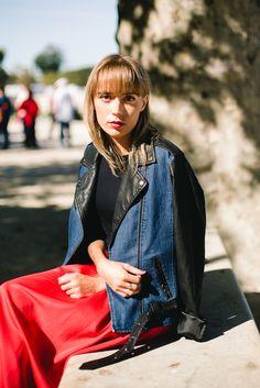 Red midi skirt Photo Michelle Mosqueda