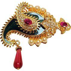 KJL Kenneth Jay Lane Maharaja paisley on paisley pin enamel crystal