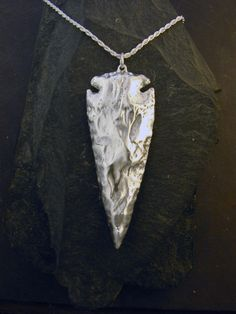 Large Sterling Silver Arrowhead Pendant on a by peteconder on Etsy