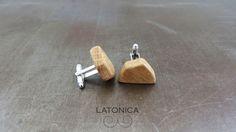 Handmade wooden cufflinks. Style.