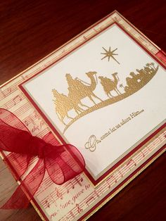 Come to Bethlehem Gold Embossed Nativity Card