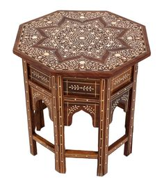 Luxe Indian Bone Inlay Decorative Octagon Table by Wanderloot