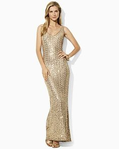 Lauren by Ralph Lauren Dress Sequin Gown  PRICE: $270.00