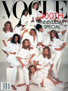 This cover featured ten of the most well recognized and established models in the world including Cindy Crawford and Christy Turlington, among many others, who have all been featured in past covers of the magazine. It was highlighted with a white background and the models all dressed in white for this issue that celebrated Vogue's 100th anniversary. This image is a portrait of big models' era. April, 1992.