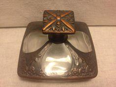 Antique Art Nouveau Perfume Bottle w Copper Floral Design on Glass | eBay