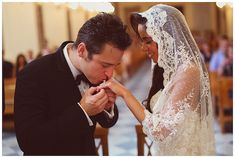 How gorgeous is this photo? And the bride's mantilla veil?!!
