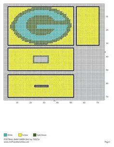 Green Bay bank Plastic Canvas Tissue Boxes, Plastic Canvas Crafts, Plastic Canvas Patterns, Cross Stitch Designs, Cross Stitch Patterns, Tissue Box Covers, Tissue Holders, Picture Ornaments, Football Crafts
