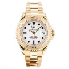 Rolex Yacht Master 168628 18k Yellow Gold Unisex Midsize Wrist Watch w/Papers EX #Rolex #LuxurySportStyles