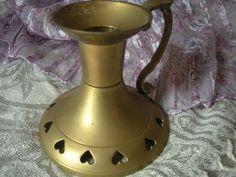 Vintage+Brass+Candle+Holder+Heart+Design+