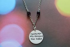 Your place to buy and sell all things handmade The Greatest Showman, Night Quotes, Purple Glass, Running Away, Hand Stamped, Dog Tag Necklace, Brother, Drama, Etsy Shop