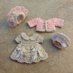 "VICTORIAN STYLE CROCHETED 4 PC. DRESS SET FOR A 3 1/2"" ALL BISQUE DOLL*by Tina"
