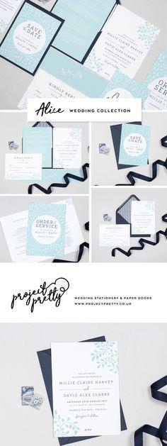 Alice botanical wedding stationery collection by Project Pretty Botanical Wedding Stationery, Design Suites, Wedding Order, Luxury Wedding Invitations, Paper Goods, Alice, Pretty, Projects, Collection