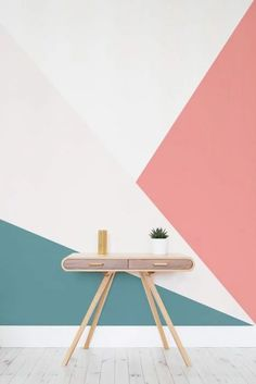 55 Ideas wallpaper accent wall living room color palettes interior design for 2019 Room Paint Colors, Paint Colors For Living Room, Wall Colors, House Colors, Geometric Wall Paint, Geometric Wallpaper Living Room, Geometric Decor, Geometric Patterns, Geometric Shapes