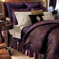 Queen Comforter Set J. Queen New York Babylon Damask Comforter Set Fashion Street Athena Comforter Set by Fashion… Multicolor Floral Plum Bedding, Purple Bedding Sets, Paisley Bedding, Purple Bedrooms, Purple Bedroom Design, Kohls Bedding, Winter Bedding, Home Bedroom, Modern Bedroom