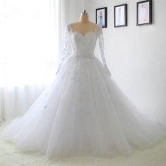 Beautiful Long Sleeve Lace Wedding Dress 2017 Sweetheart