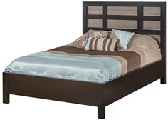 Solid wood Brown Maple bed frame, Amish handcrafted bedroom furniture, panel bed, two-toned finish pictured and available, five sizes available