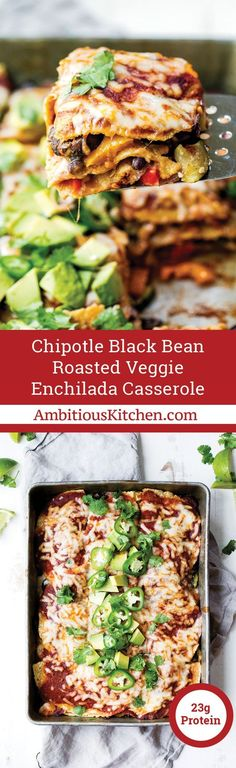 Layers upon layers of veggies snuggled between black beans, corn tortillas, a homemade chipotle enchilada sauce and cheese. The best and easiest vegetarian enchilada casserole! This post is in partnership with Almond Breeze.