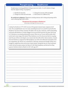Worksheet Paraphrase Worksheet home keys and worksheets on pinterest paraphrasing beethoven worksheet