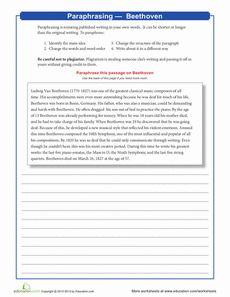 Paraphrasing worksheets 5th grade vocabulary