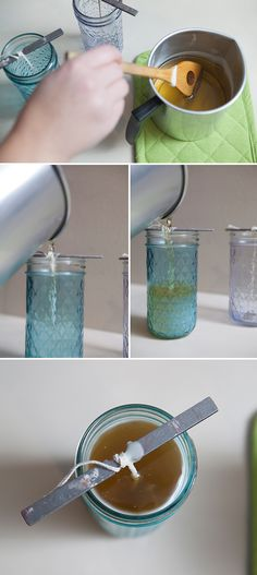 #DIY ~ how to make tinted mason jars candles! Using quilted crystal jelly jars and Martha Stewart Liquid Fill Glass Paint