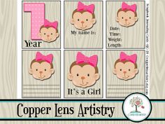 Monthly Milestones Scrapbook Journaling cards for a baby girl by CopperLensArtistry. A card for months 1-12, a 1year tag, 2 birth information tags, 1 it's a girl, and 2 blank tags. Click on photo to see all of the tags.