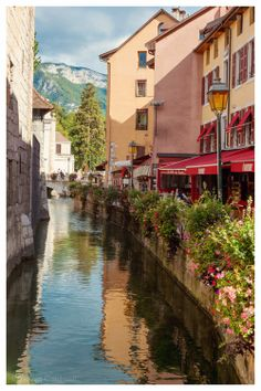 Annecy, France - canal reflection stone architecture French Alps buildings mountain red orange buildings 8x12+ Original Fine Art Photograph