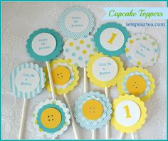 How to Make Cupcake Toppers, Cute as a Button Theme by Letspourtea.com