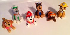 6 Paw Patrol Inspired Puppies Dogs - Edible Fondant Cake / Cupcake Topper Decorations on Etsy, $70.00