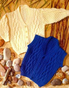 PDF Knitting Pattern for childrens ARAN Cardigan & Waistcoat To fit 20-28 inch chests