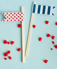 Blue & Red Nautical Baby Shower PRINTABLE Party Flags by Love The Day