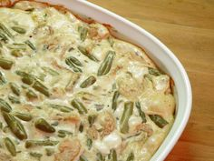Green Bean Casserole, bake for 30 minutes. Casserole Dishes, Casserole Recipes, Food Dishes, Main Dishes, Side Dishes, Classic Green Bean Casserole, Greenbean Casserole Recipe, Frozen Green Beans, Southern Recipes