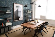 See more images from an impeccably styled office (with wow-factor wallpaper!)  on domino.com